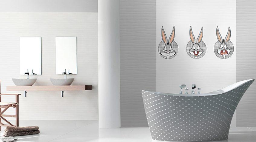 Azulejos con motivos infantiles. Un baño a la medida de los más peques.