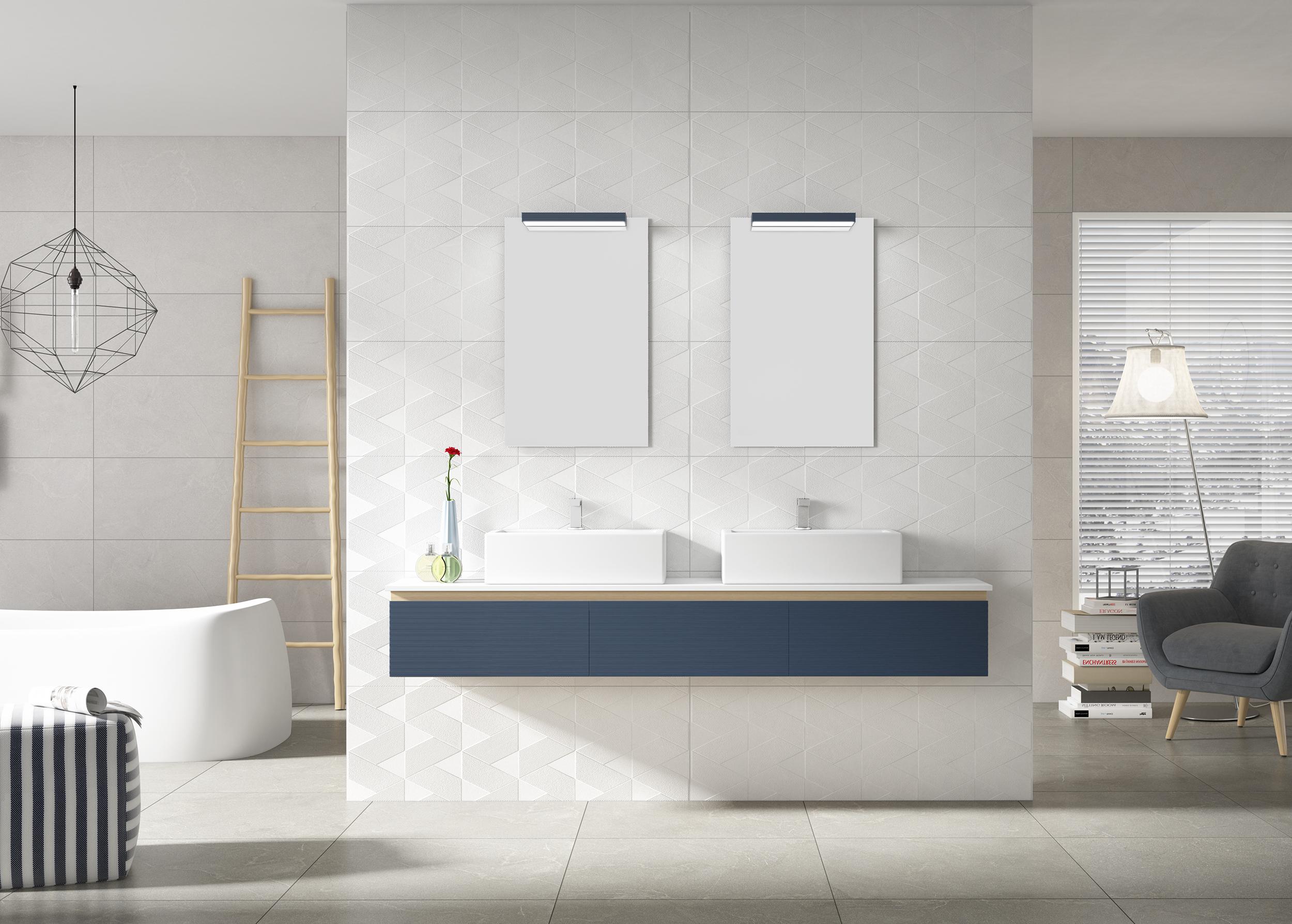 El blanco es un color limpio, es el color de la luz.  El color blanco no pasa de moda. Por eso, la decoración con azulejos, muebles, sanitarios y accesorios en blanco siempre es una buena opción a tener en cuenta.  Como hemos dicho, el blanco es el color de la luz y la pureza. Es una magnífica opción para espacios pequeños, para ambientes minimalistas y para potenciar la sensación de limpieza de un espacio.